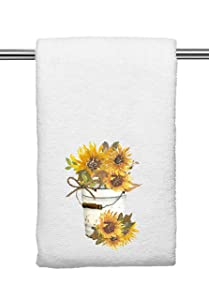 Yellow Decorative Kitchen and Bath Hand Towels | Rustic Sunflower Pail | Spring Summer Fall Decor | White Towel Home Holiday Decorations | XMAS House Warming Wedding Gift Present