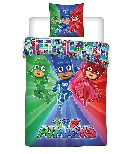pyjamasques funda de edredón Reversible con funda de almohada, microfibra, multicolor, 200 x