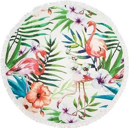 styleBREAKER Redonda Toalla de Playa con flamencos, Palmeras y diseño de Flores, Flecos Toalla