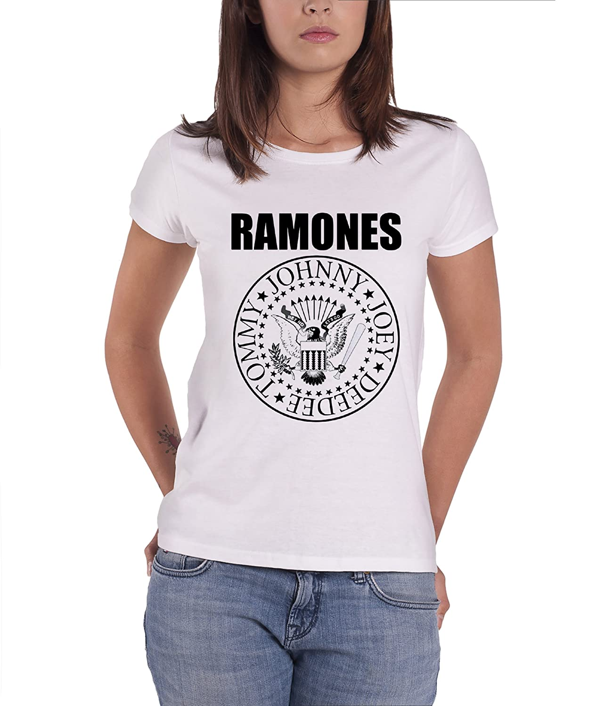 Ramones T Shirt Forest Hills Band Logo offiziell Damen Skinny Fit Snow Wash