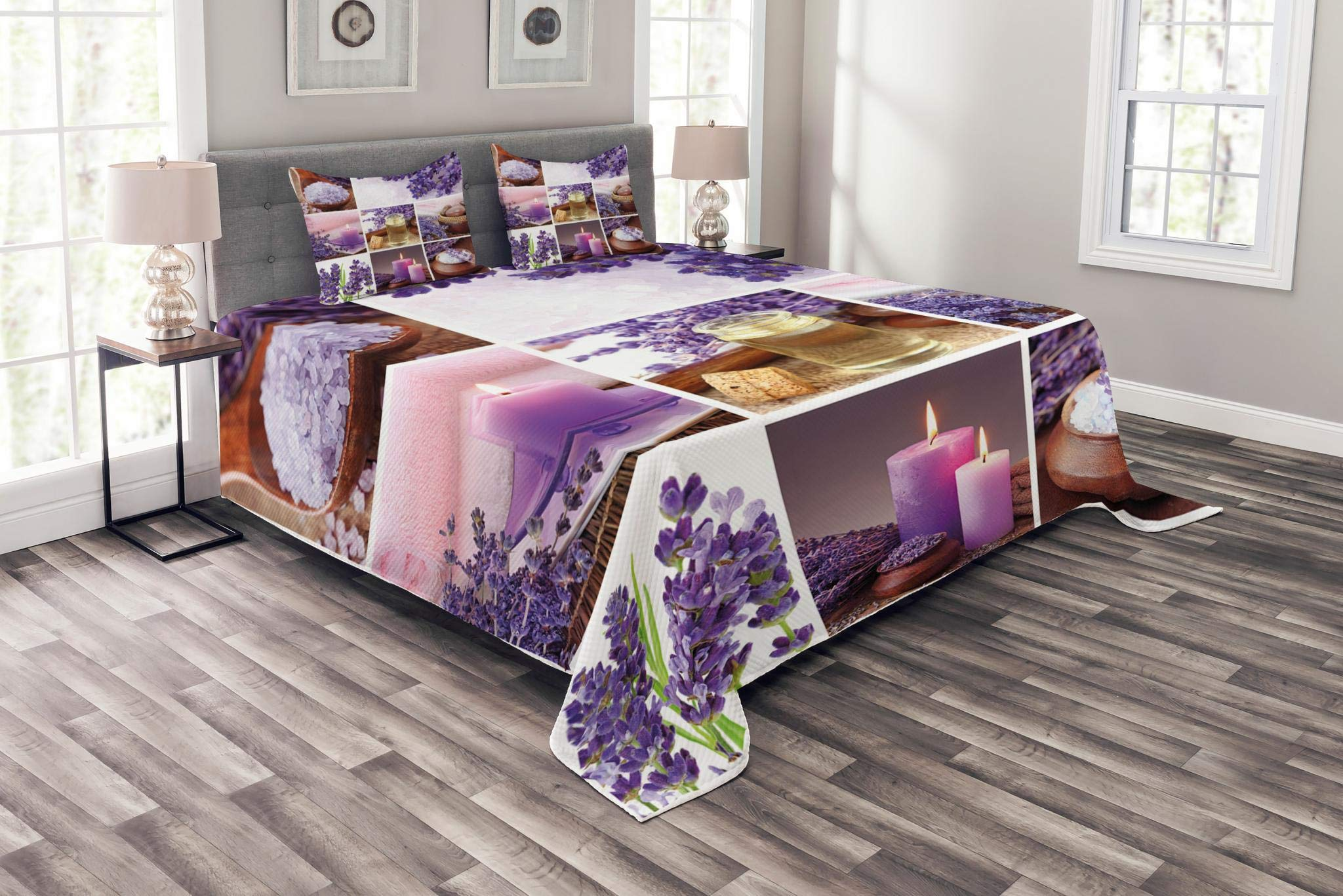 Lunarable Spa Bedspread Set King Size, Lavender Garden Alike Themed Relaxing Candles Stones Herbal Salt Elements Image, Decorative Quilted 3 Piece Coverlet Set with 2 Pillow Shams, Purple and White