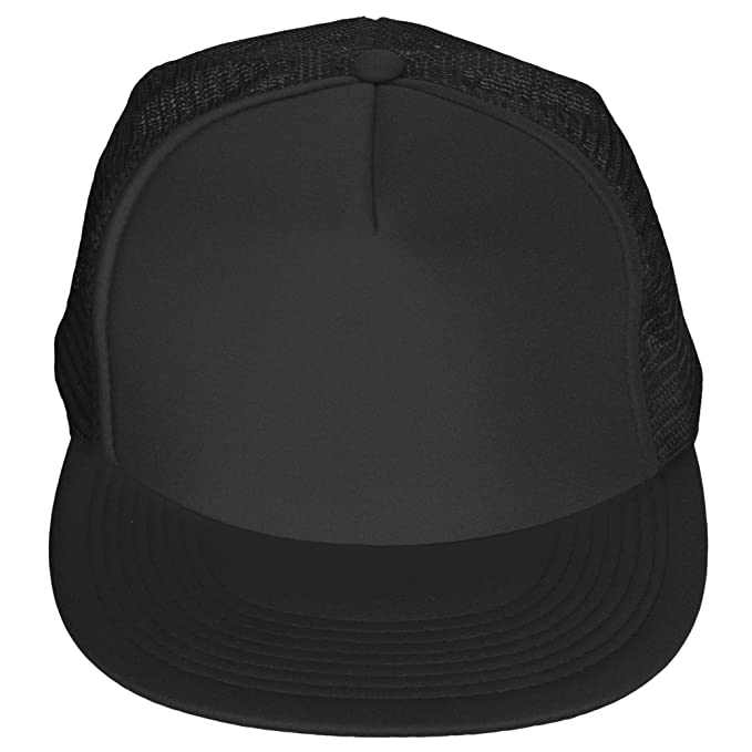 a28a24752ef DALIX Flat Billed Trucker Cap With Mesh Back in Black at Amazon Men s  Clothing store