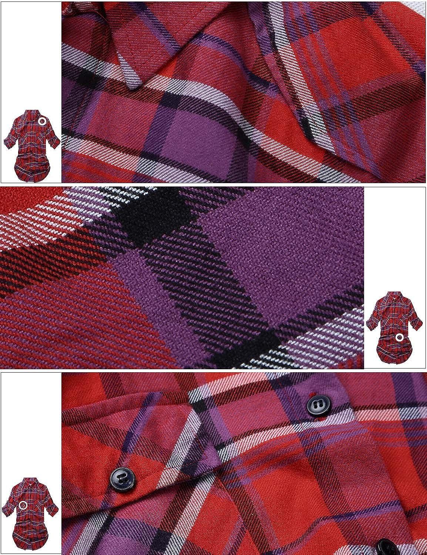 Match Camisas de Mujer Blusa de Franela a Cuadros de Manga Larga Blusas Informales Blusa de Botones #B003