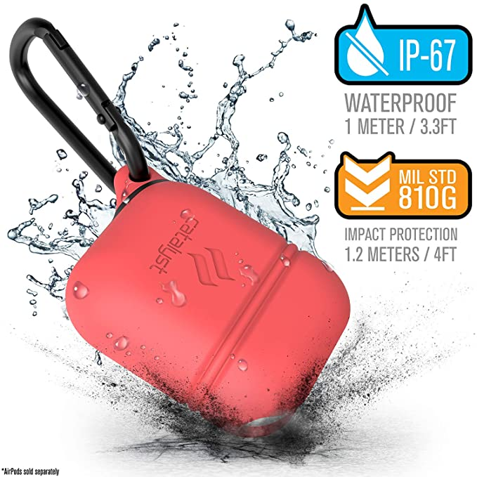 separation shoes 9a2c4 c0f04 AirPods Charging Case Protection by Catalyst, Compatible Wireless Charging  [RED Light visible], for Apple AirPods 1 and AirPods 2, Waterproof, ...