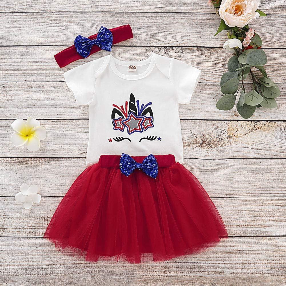 Red Tutu Skirt Bow Headband Girls Clothes Set Unicorn Romper//Flag T Shirt