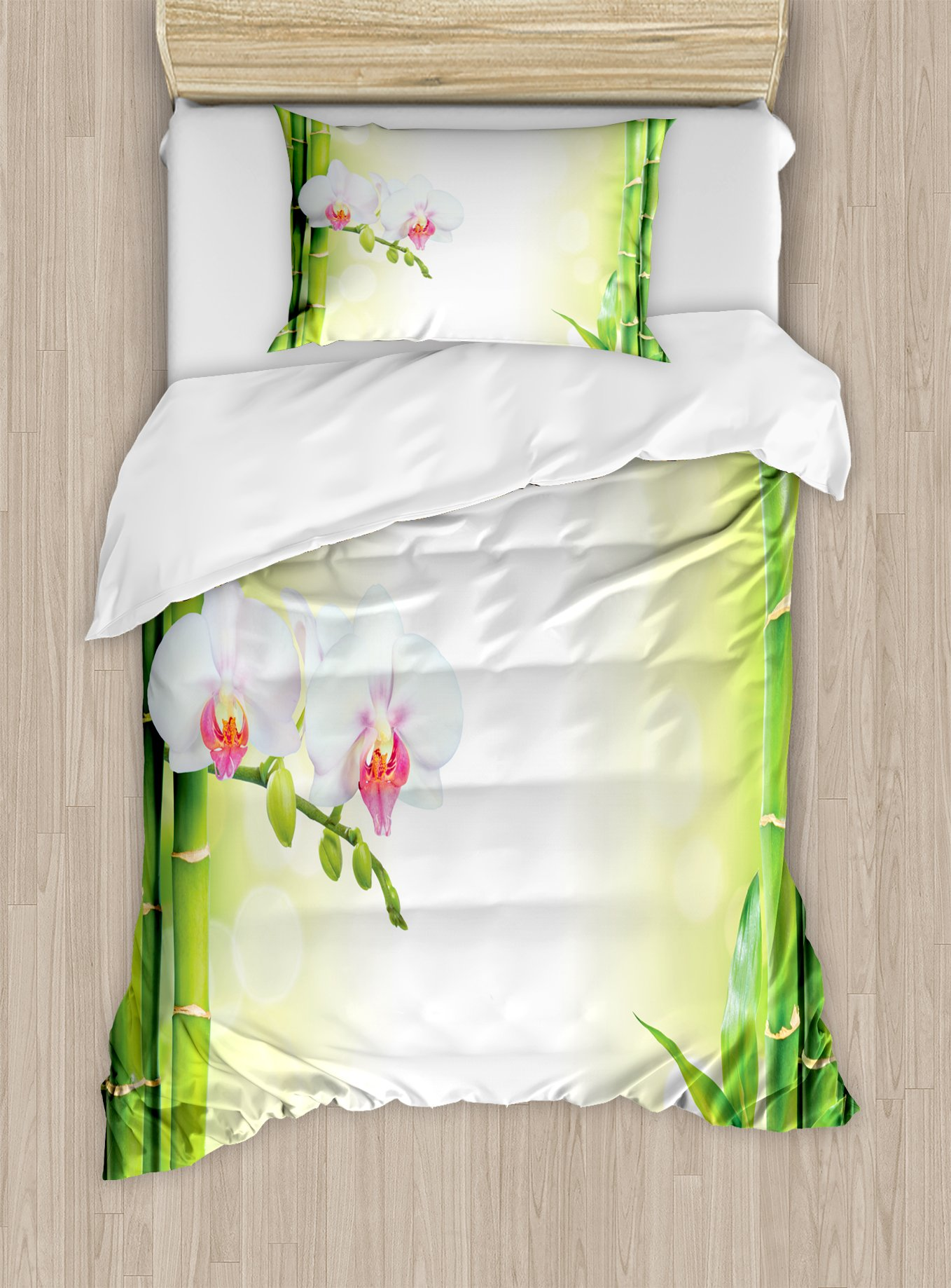 Ambesonne Spa Duvet Cover Set Twin Size, Orchid Flowers with Bamboo Branches in Vibrant Colors Spiritual Practice Theme, Decorative 2 Piece Bedding Set with 1 Pillow Sham, White and Green