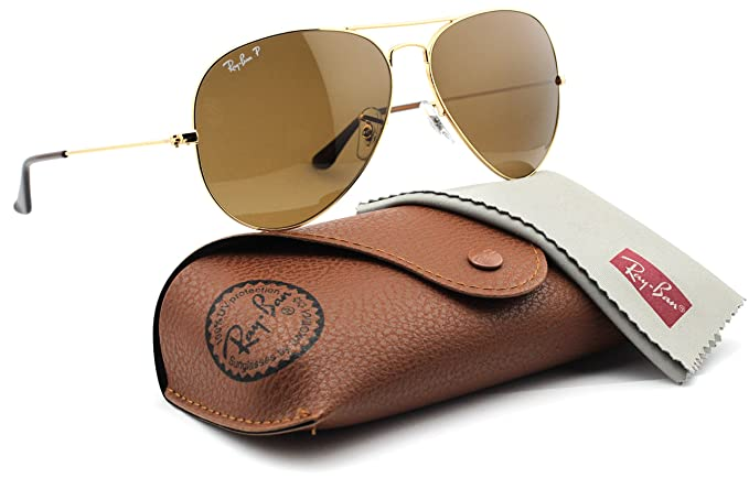 Ray-Ban RB3025 001 57 Unisex Aviator Sunglasses Polarized (Gold Frame Brown 3ccc8f531661