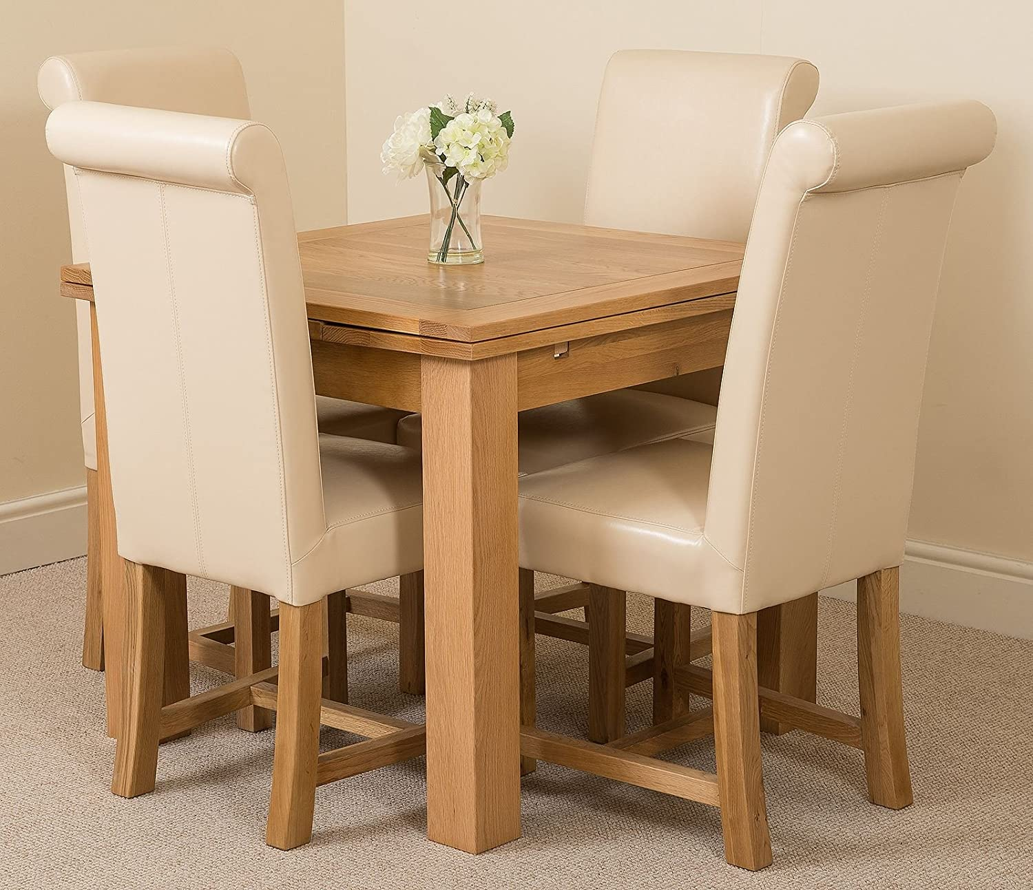 Ivory Leather Small - 4 Chairs MODERN FURNITURE DIRECT Richmond Small Extending Solid Oak Dining Set Table & 4 Beige Fabric Chairs