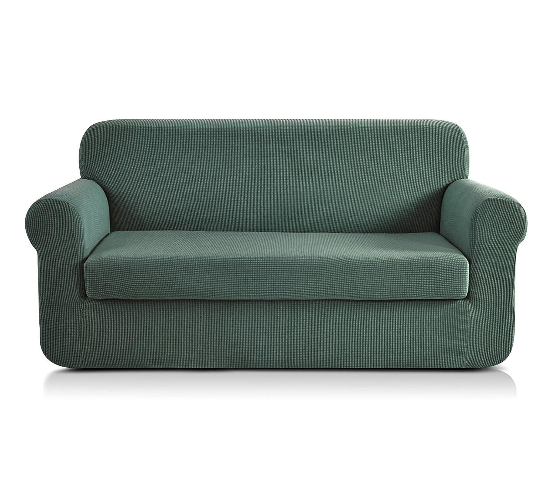 CHUN YI 2-Stück Jacquard Sofaüberwurf, Sofaüberzug, Sofahusse, Sofabezug für Sofa, Couch, Sessel, mehrere Farben (3-Sitzer, Zementgrau)