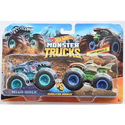 HOT Wheels Monster JAM 1:64 Scale Demolition Doubles MEGA WREX VS Leopard Shark Series 2 Giant Wheels: Toys & Games