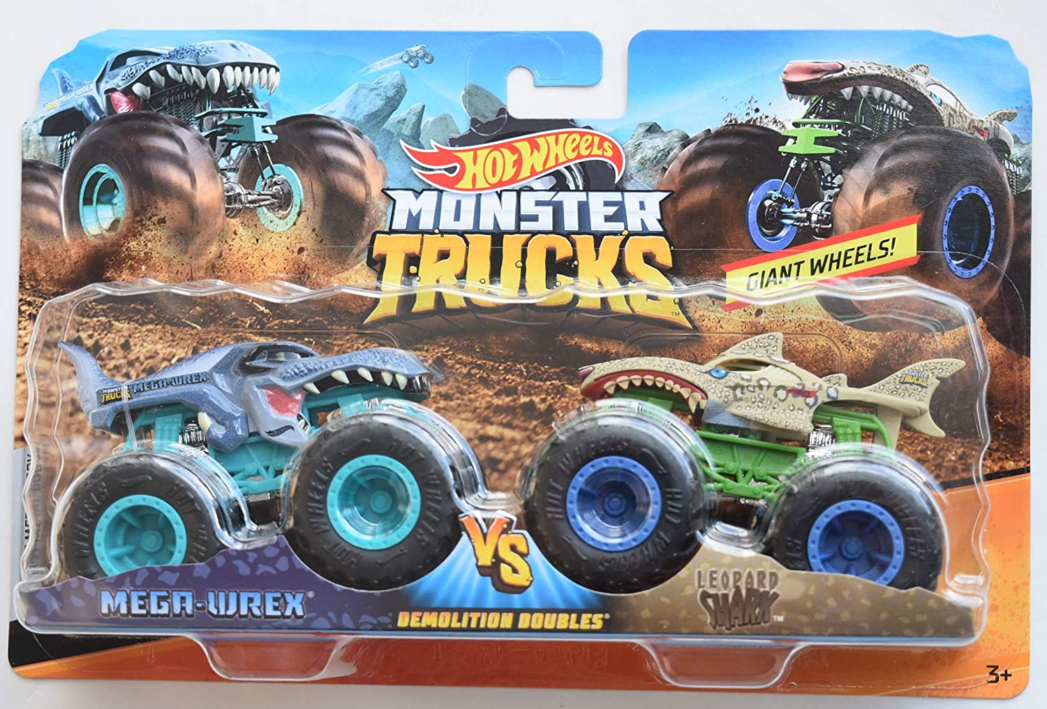 Amazon Com Hot Wheels Monster Jam 1 64 Scale Demolition Doubles Mega Wrex Vs Leopard Shark Series 2 Giant Wheels Toys Games