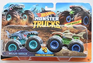HOT Wheels Monster JAM 1:64 Scale Demolition Doubles MEGA WREX VS Leopard Shark Series 2 Giant Wheels