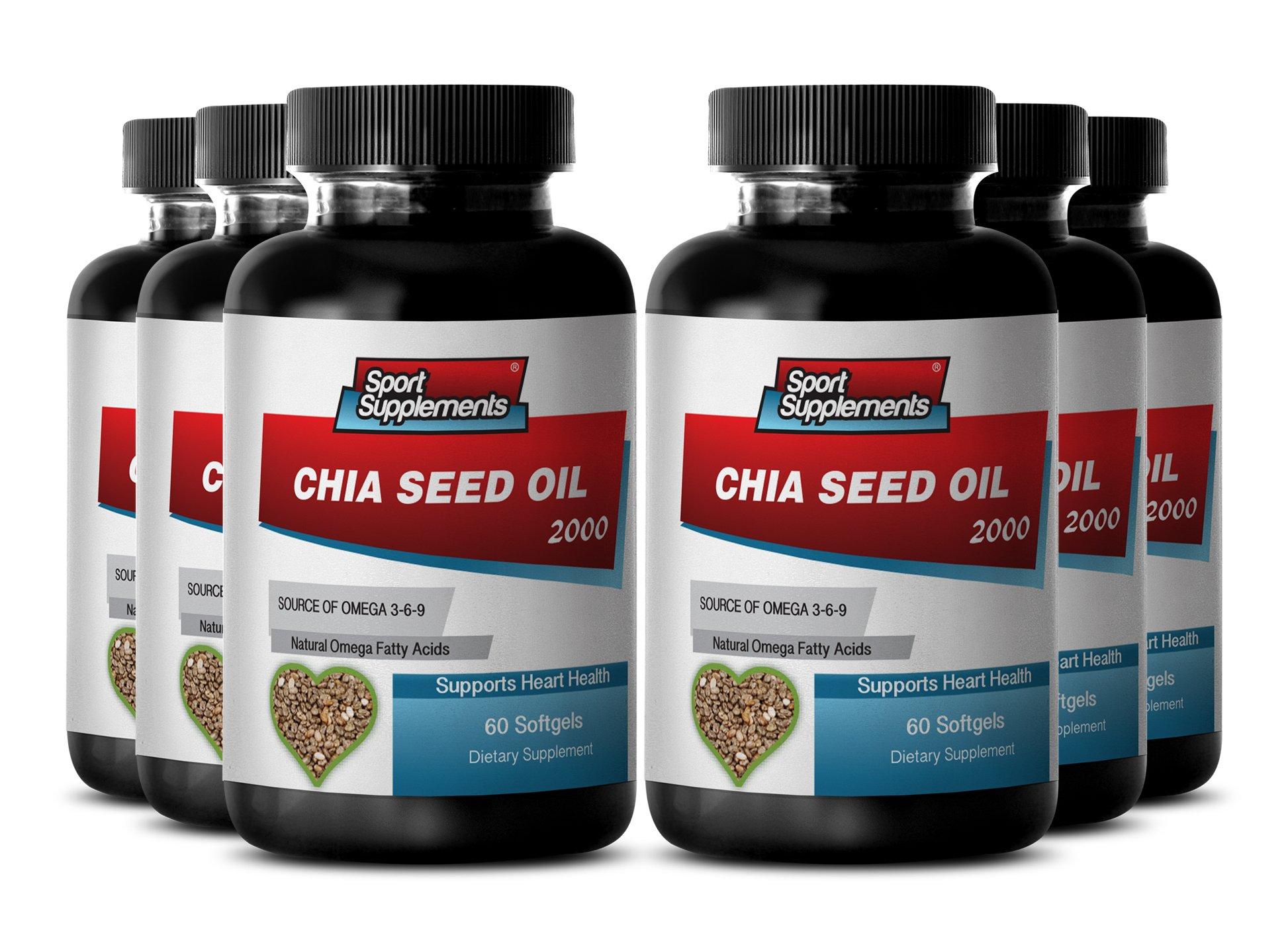 New Chia Seed Oil 2000mg (6 Bottles, 360 Softgels)