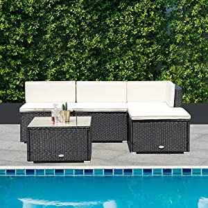 Tangkula 5 PCS Patio Furniture Sets, Outdoor Conversation Set, Wicker Combination Furniture for Outdoor Indoor, Modern Wicker Coffee Table with Sofas, Rattan Furniture with Sponge Cushions