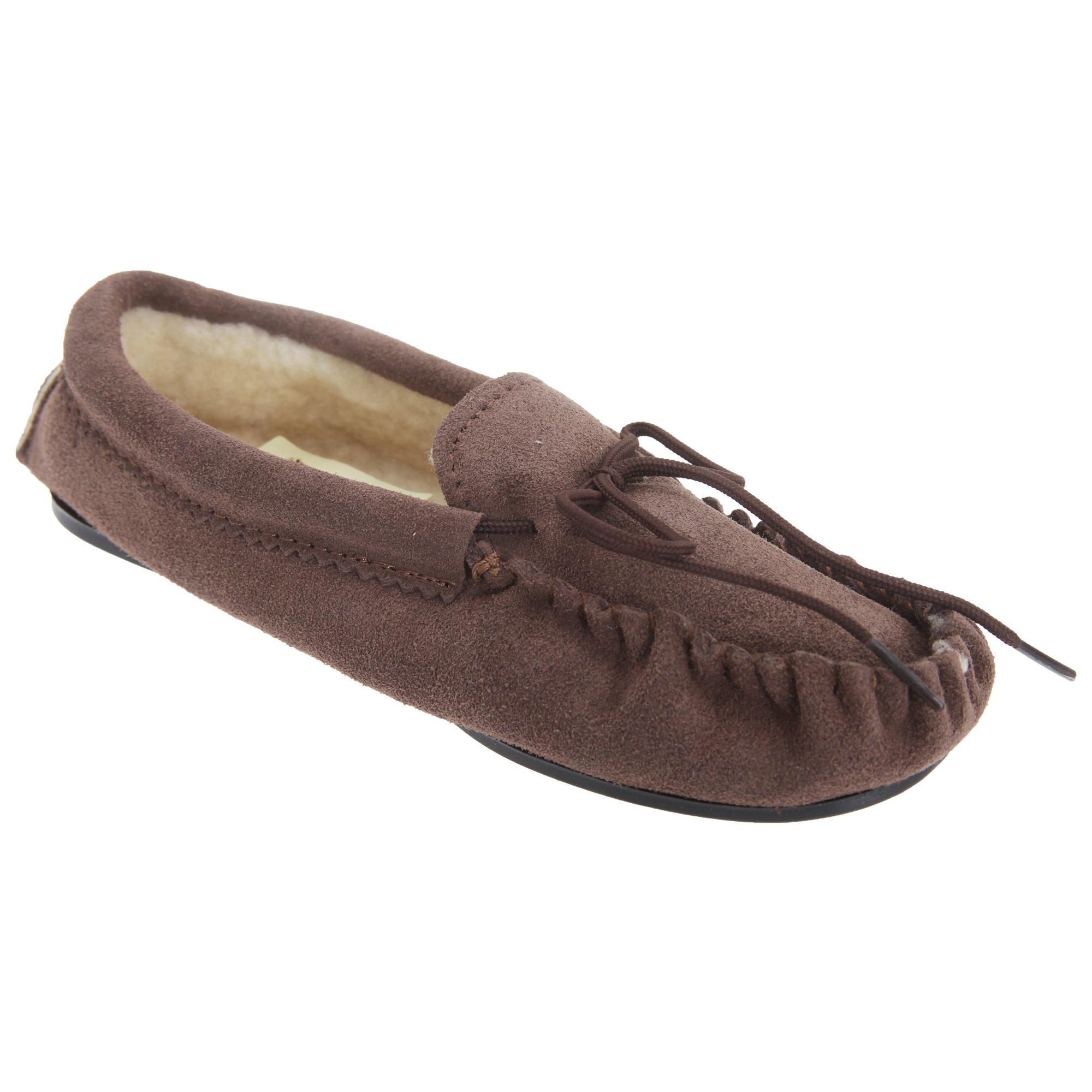 Mokkers Kids Big Boys Sheridan Moccasin Real Suede Slippers (5 US) (Dark Taupe)