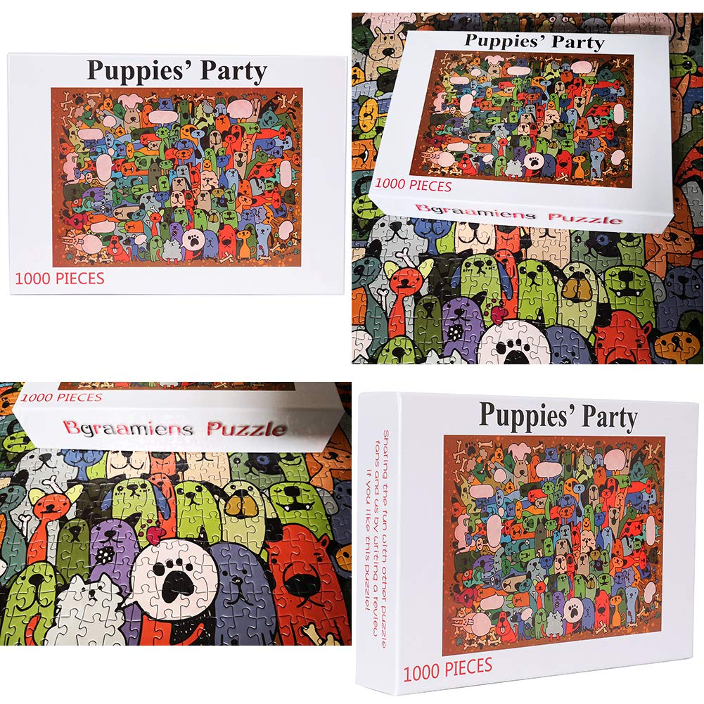 Bgraamiens Puzzle-Puppies/' Party-1000 Pieces Cute Cartoon Dogs Jigsaw Puzzles Toy Town