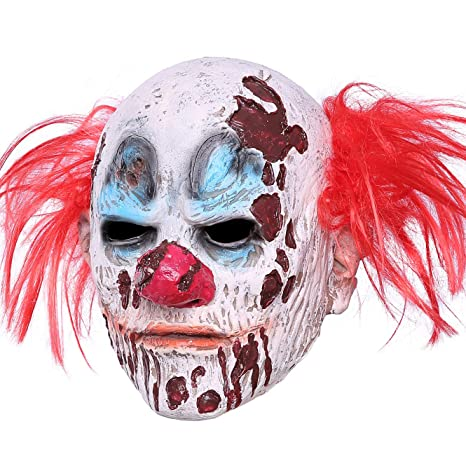 Amazon.com: Halloween Clown Mask Full Head Latex Scary Clown Mask Hair Mask Halloween Cosplay (Clown Mask): Clothing