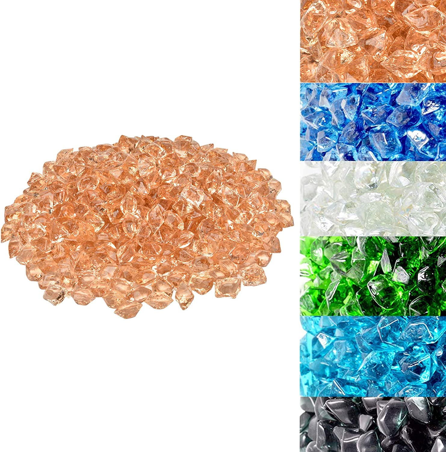 1//2-Inch Pacific Blue Skyflame 10-Pound Polygon Fire Glass for Fire Pit Fireplace Landscaping