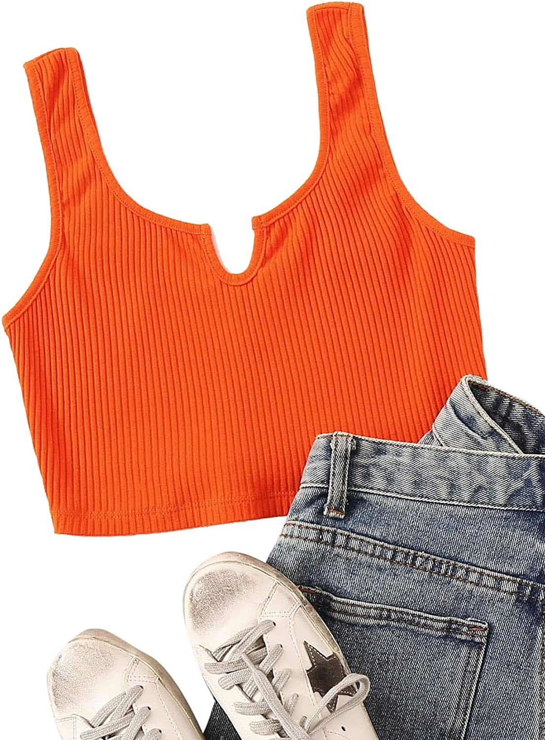 Verdusa Womens Notched Front Sleeveless Ribbed Crop Tank Top