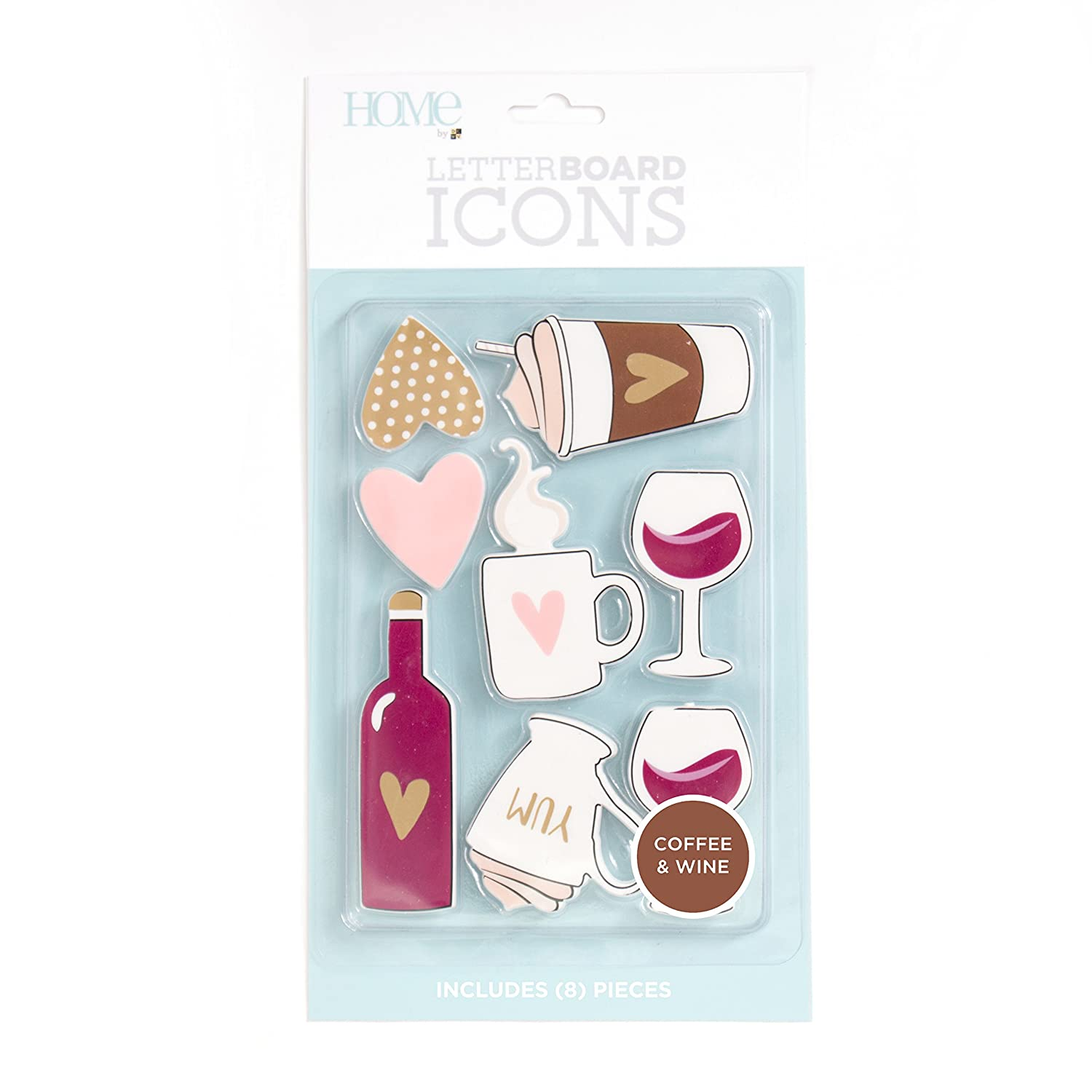 American Crafts 8 Piece Coffee/Wine Icon Pack Die Cuts with a View Letterboards LP-006-00033
