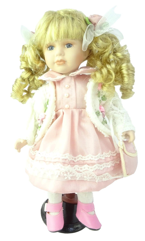 TOYLAND Bambola di Porcellana da 30 cm - Ragazza in Abito Rosa - Giocattoli per Ragazze Toyland®