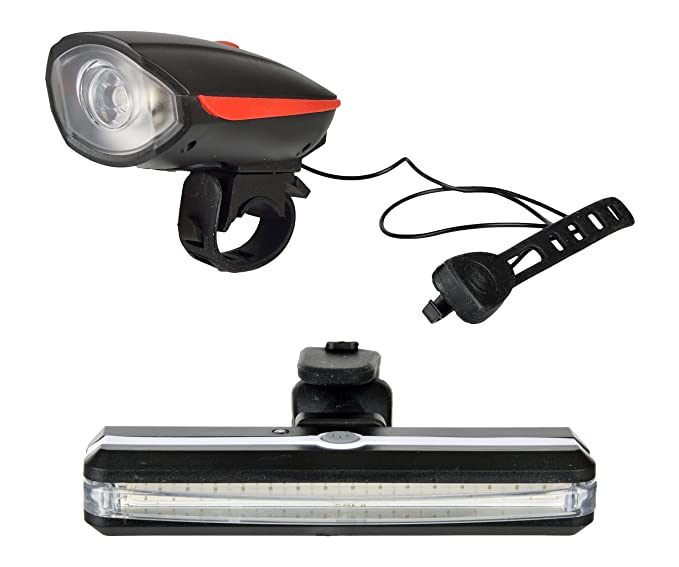 DarkHorse CE Standard Bicycle USB Rechargeable Front Head Light  amp;Horn and USB Tail Light with Multicolour Lights  Red, Black  Cycle Bells