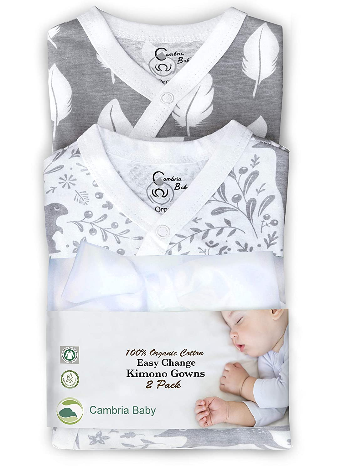 Cambria Baby 100/% Organic Cotton Kimono Gowns 2 Pk Elephant and Waves, 0-3 Mo Easy Change with Built in Mitts