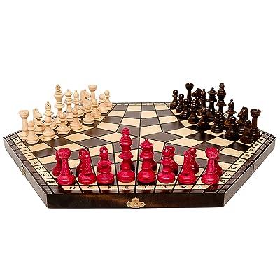 3 JOUEURS CHESS 47cm / 18po Grand Jeu d'échecs en bois, Handcrafted Uniqe Jeu