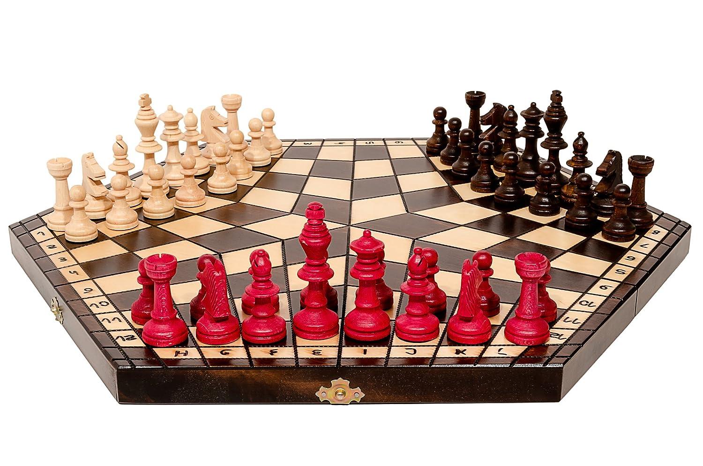 3 Spieler CHESS 47cm / 18in große hölzerne Schachspiel, Hand Uniqe Spiel