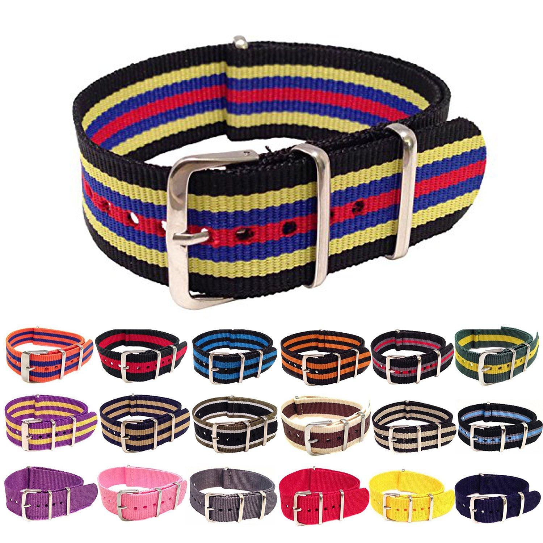 Wrist & Style NylonNATO Watch Strap (22mm, Black/Yellow/Blue/Red)