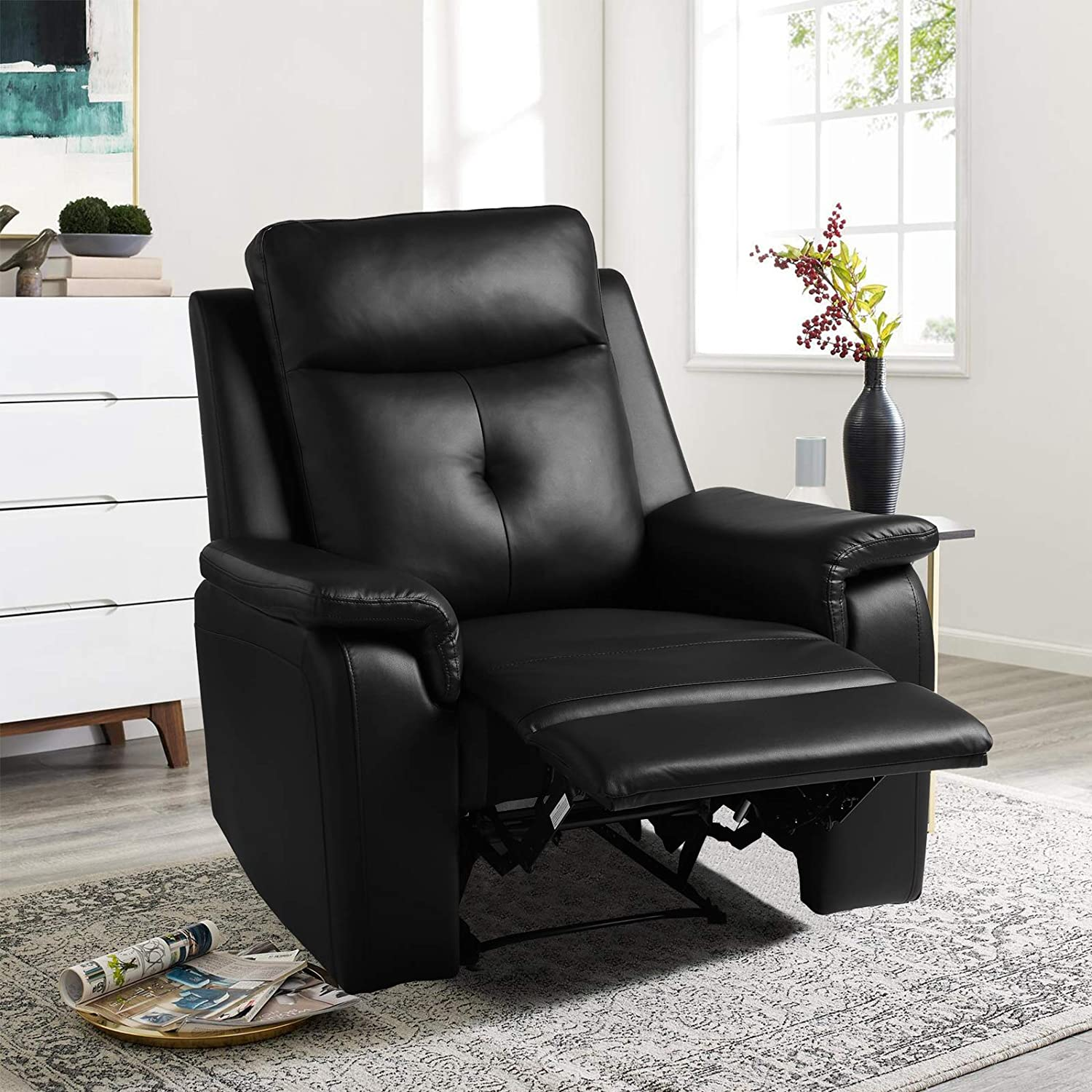 Manual Recliner Chair - Modern PU Leather Reclining Single Sofa - Ergonomic Design Home Theater Seating for Living Room, Bedroom, Home, Office (A:Black)