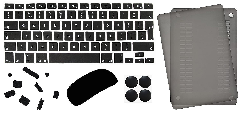 5 in 1 Lilware Accessoire Kit pour Apple MacBook Pro 13'. Ensemble de Lisse Tactile É tui Mate Plastique Dur + Etanche UK / EU Internationale Couverture Clavier + Magic Mouse Protecteur + Anti-Poussiè re Bouchons + 4 Pack en Caoutchouc Pieds.