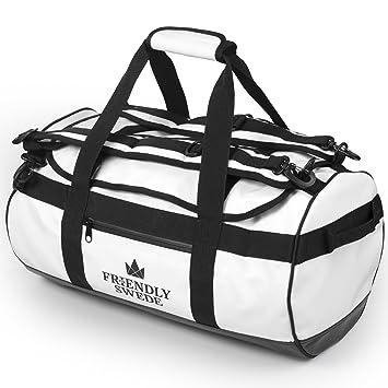 Borsone da Viaggio e Sport Convertibile in Zaino - Duffel Bag - The  Friendly Swede (Bianco 30L)  Amazon.it  Valigeria f3e7bb9ce1c