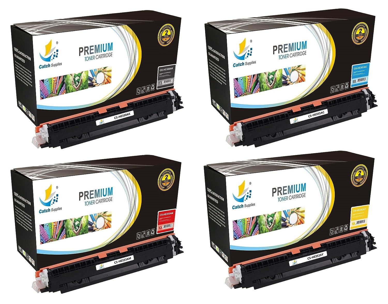 CatchSupplies reemplazo HP 130A cartucho de tóner 4 juego paquete | CF350A Negro, Cian CF351A, CF352A amarillo, magenta CF353A | compatible con la ...