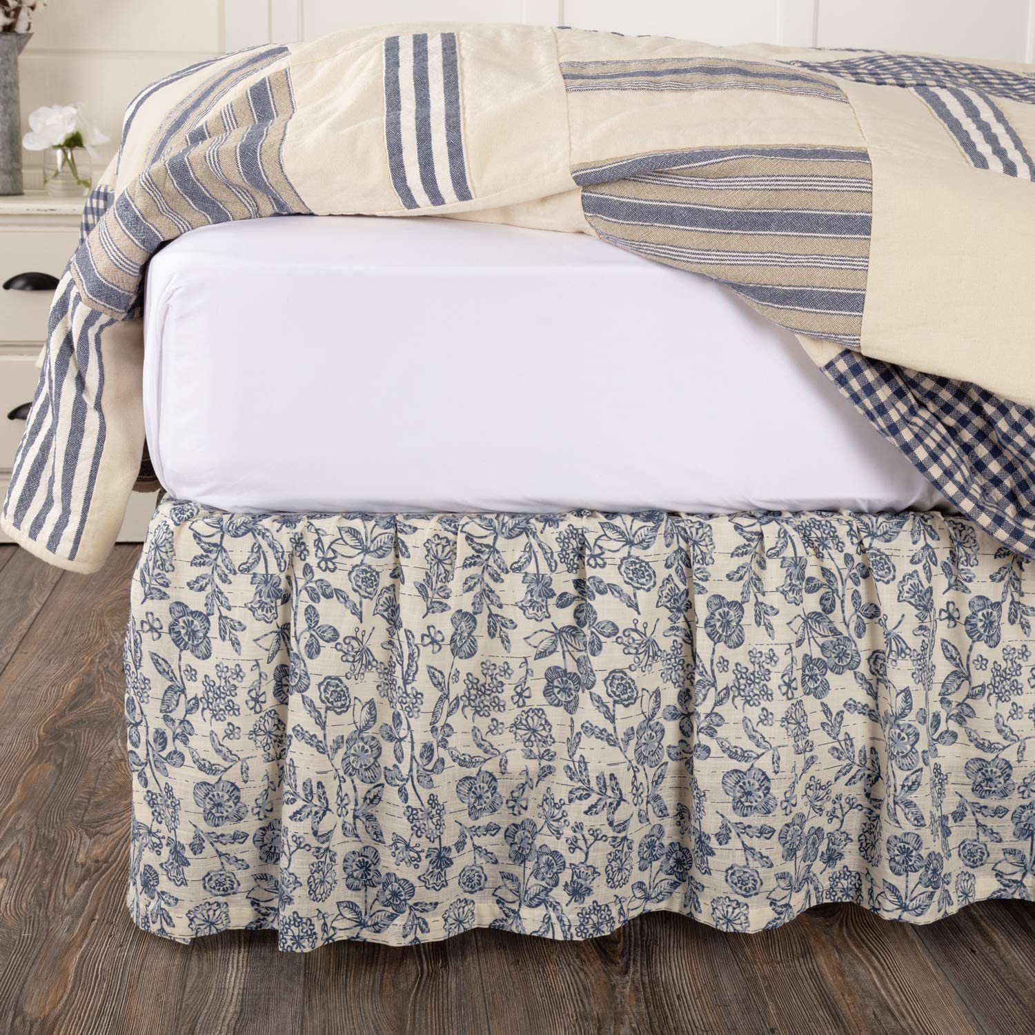 """Piper Classics Doylestown Twin Size Floral Bed Skirt w/ 16"""" Drop, Blue & Cream Gathered Dust Ruffle, Country Cottage, Vintage Farmhouse Bedroom Décor"""
