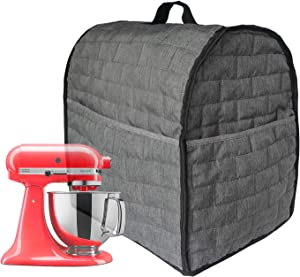 Stand Mixer Dust Cover for Mixers,Cloth Cover with Pockets for Extra Attachments (Grey, Fits for All 6-8 Quart)