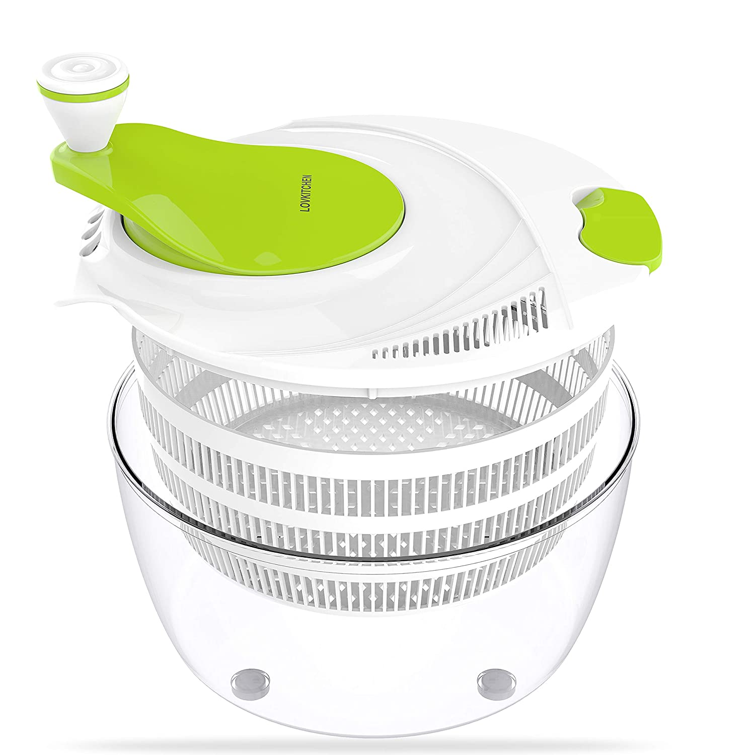 LOVKITCHEN Salad Spinner, Plastic Kitchen Large 4 Quarts Fruits and Vegetables Dryer Quick Dry Design BPA Free Dry Off & Drain Lettuce and Vegetable - Green-White LOVSHARE