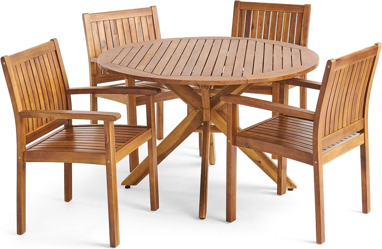 Christopher Knight Home 305436 Kally Outdoor Five Piece Acacia Dining Set, Teak Finish