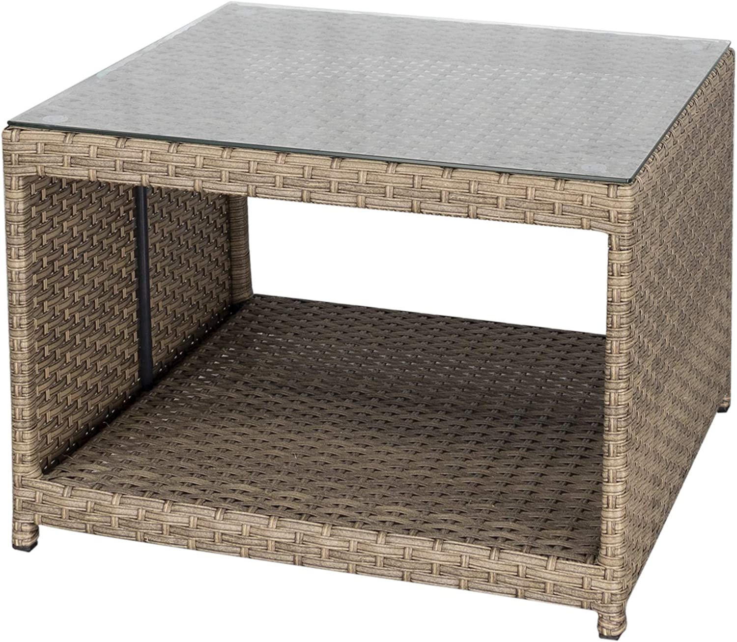 DIMAR garden Outdoor Coffee Table Wicker Patio Furniture Conversation Set Rattan Patio Coffee Tables with Glass Top and Storage Shelf (25.2in, Light Brown)