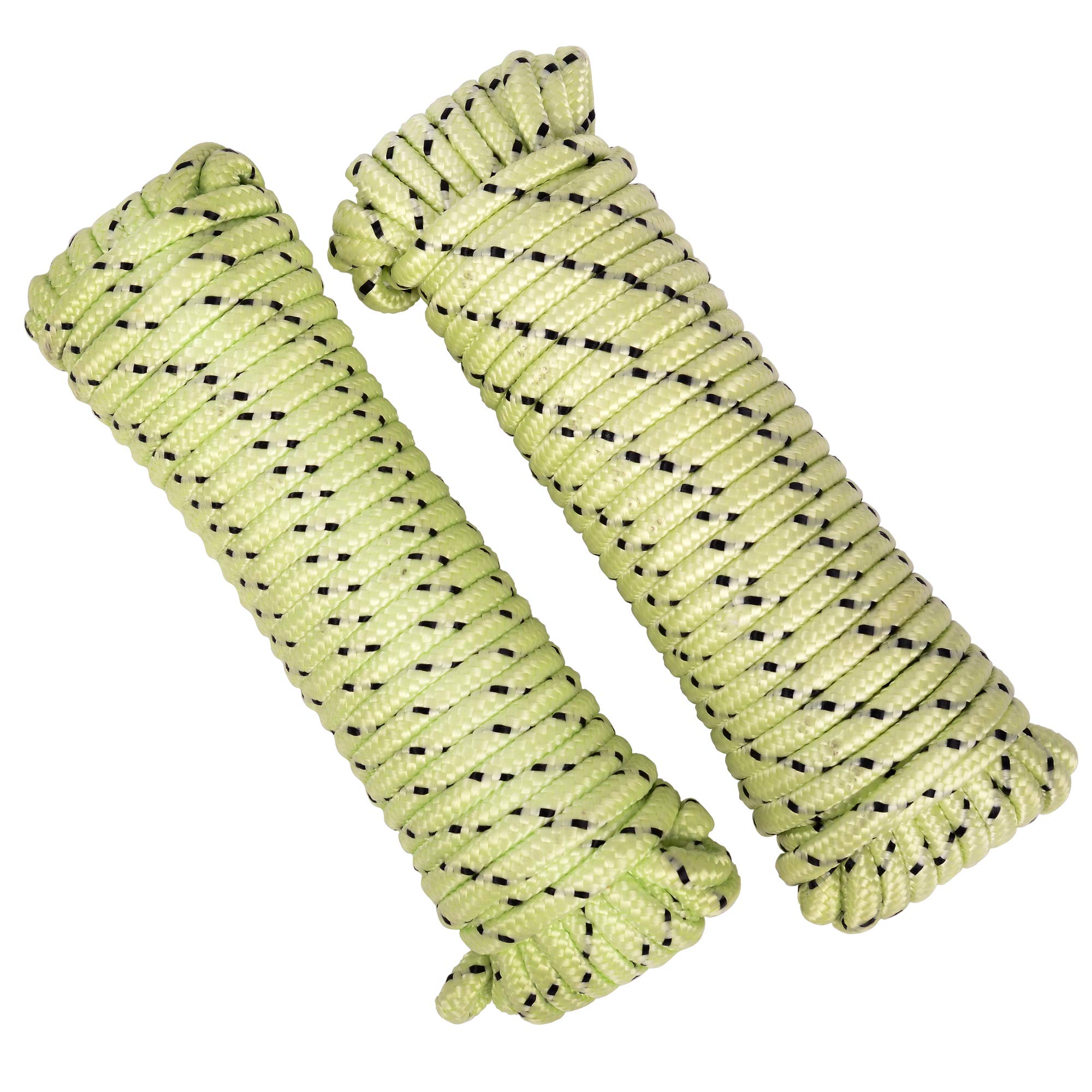 MICASA Utility Rope Paracord Nylon Twine - Diamond 16 Strands Braided, 100% New Polypropylene Material, and 1/4inch by 50ft, Twin Pack, Camping Tools for Tent (Fluorescene)