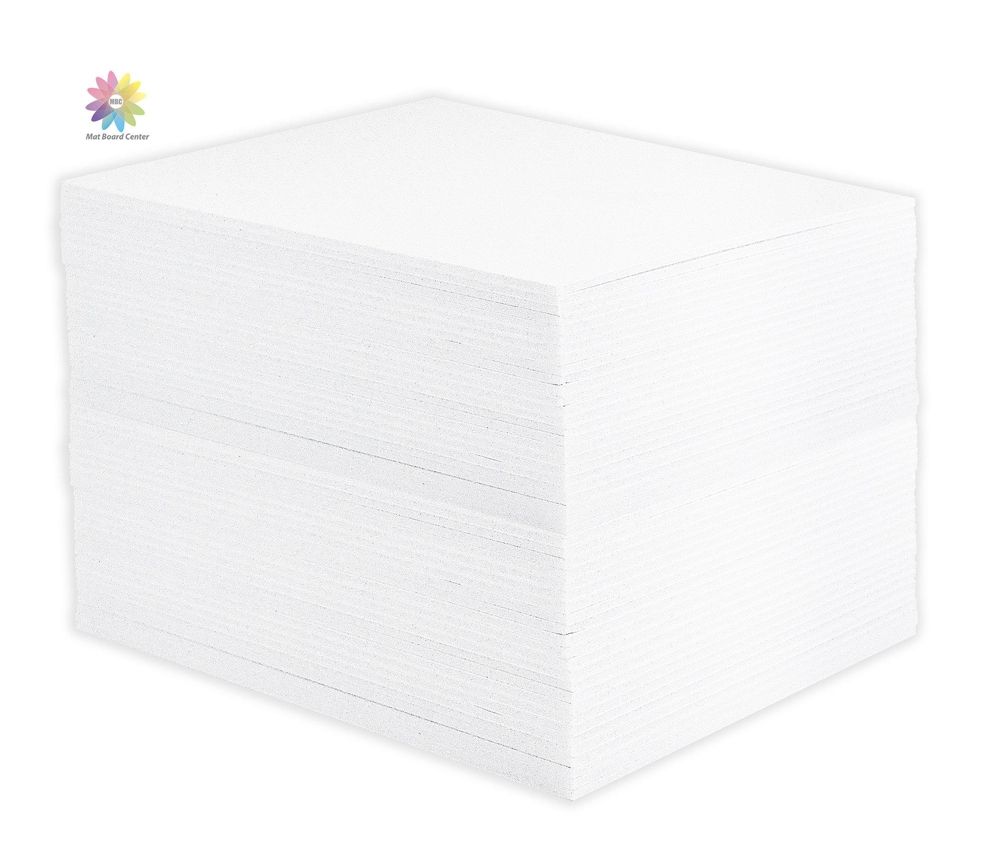 Mat Board Center, Pack of 50 8x10 1/8'' White Foam Core Backing Boards