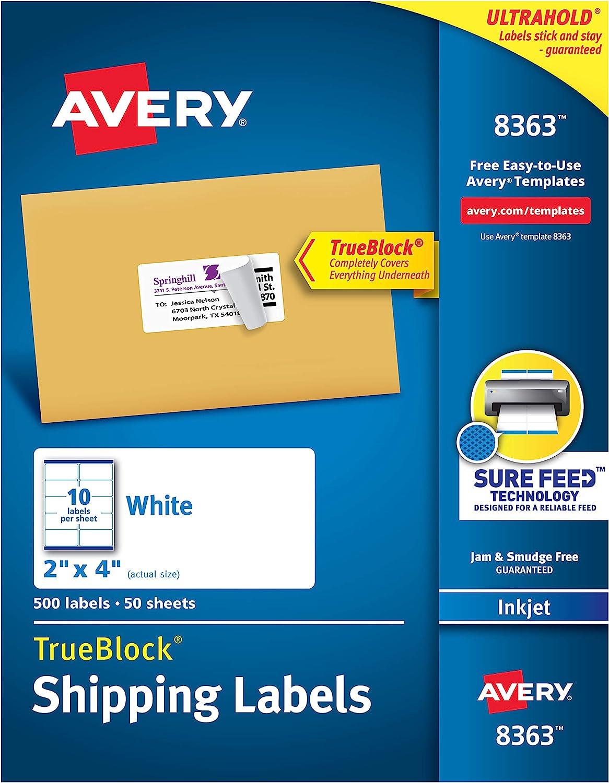 Avery Shipping Address Labels, Inkjet Printers, 500 Labels, 2x4 Labels, Permanent Adhesive, TrueBlock (8363)