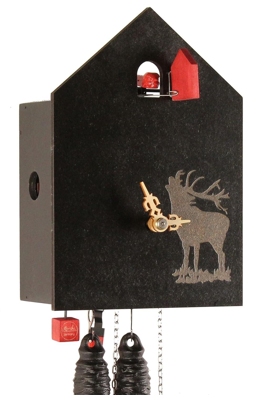 von Eble Uhren-Park Kuckucksuhr Original Schwarzw/älder Kuckuckuhr Echtholz mechanisches 1-Tag Laufwerk NEU VDs Zertifikat Romba Hirsch 20cm OD13H-2
