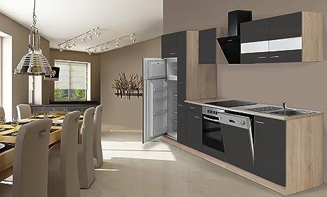 respekta Instalación de Cocina Cocina 310 cm Roble Gris Incluye Nevera y congelador Combinado vitrocerámica &