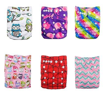 Alva baby cada paquete tiene 6pcs pañal y 2 inserciones ajustado pañal de tela (color