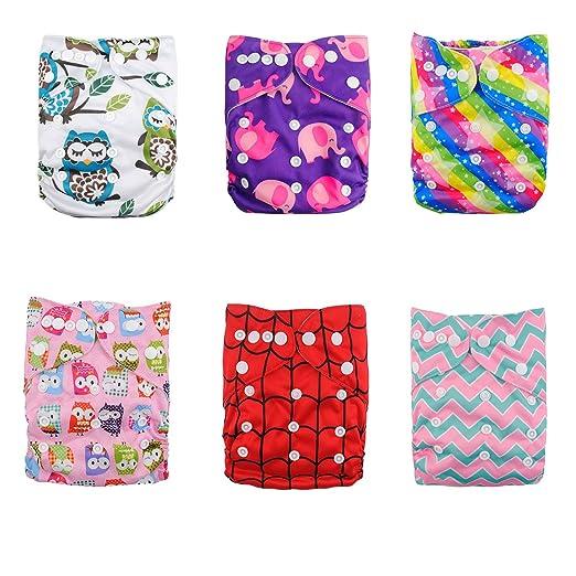 33 opinioni per Alvababy 6pcs pannolino di stoffa con 2 inserti con una tasca (colore fanciulla)