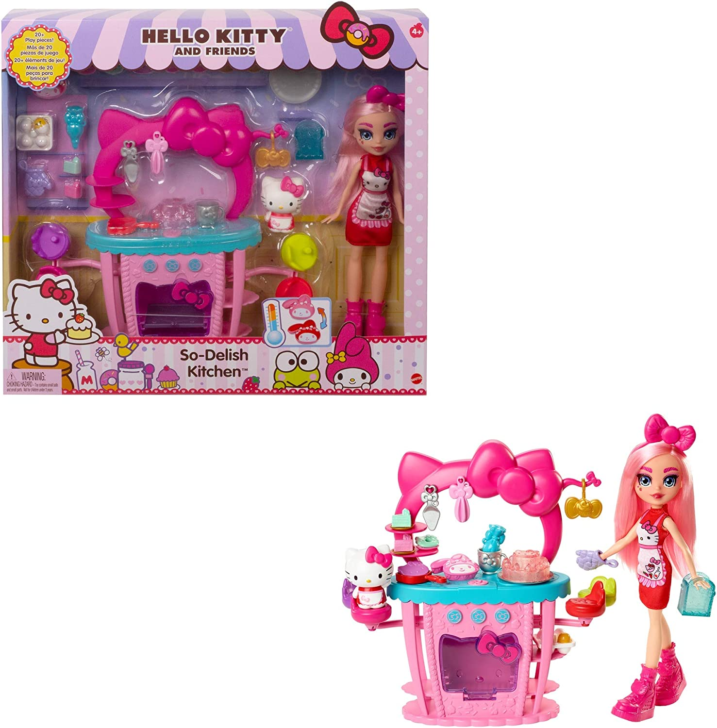 Mattel Hello Kitty and Friends So-Delish Kitchen Playset, Hello Kitty and Éclair Doll (10-in) with 25 Accessories, Great Gift for Kids Ages 4Y+