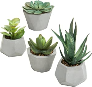 MyGift Set of 4 Desktop Assorted Artificial Succulent Plants in Geometric Clay Pots