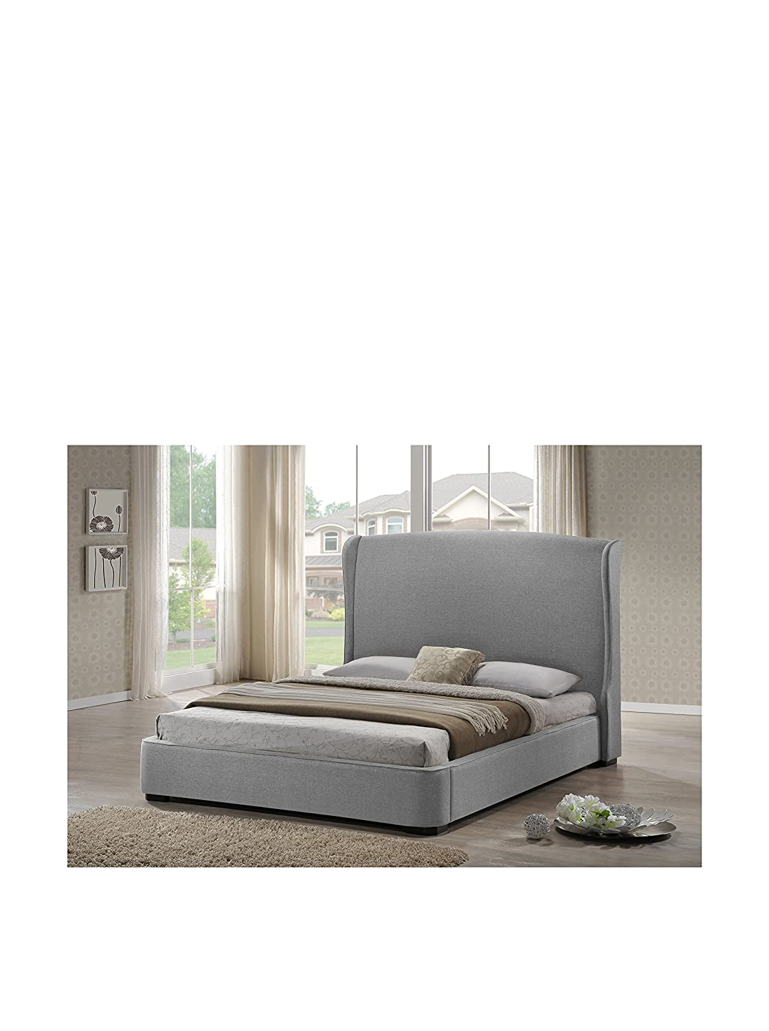 amazoncom baxton studio sheila linen modern bed with upholstered  - amazoncom baxton studio sheila linen modern bed with upholstered headboardking gray kitchen  dining