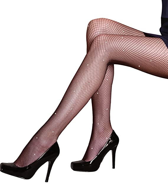 4e2ea24b7e7a7 Silky Scarlet All Over Diamante Fishnet Tights-Black-Medium at Amazon  Women's Clothing store: